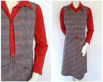 1970s Two Piece Plaid Dress and Vest with Belt Red Long Sleeve Gray Checkered Skirt Button Front Blouse Top Belted Waist