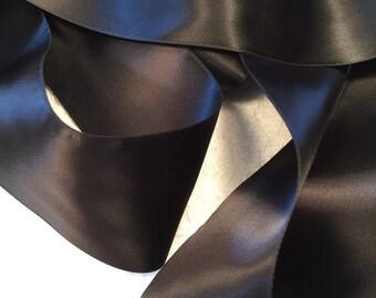 Black Satin Ribbon/Black Ribbon/Bridal Sash/Black Wedding Belt/Wedding Dress Sash/Black Gothic Belt/Black Ribbon Sash/Dark Bridal Sash
