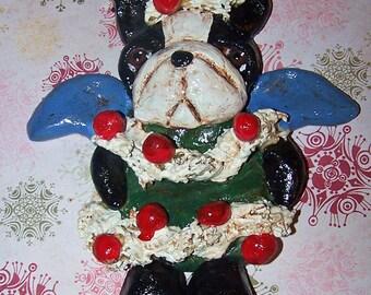 Folk Art Vintage Boston Terrier Dog Christmas Tree Angel Ornament Ooak Vintage Nostalgic Style