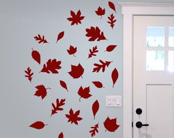 Autumn Leaves Set, Leaves for fall, Thanksgiving decor, Window decals for Fall, Halloween stickers
