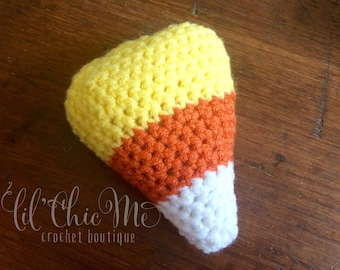 READY TO SHIP!  Candy Corn Baby Rattle, Stuffed Candy Corn Toy, Candy Corn Amigurumi, Candy Corn Plushie Baby Toy, Candy Corn Photo Prop