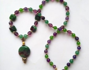 Ruby Zoisite, Amethyst & Green Aventurine Pendant, Beaded Gemstone Necklace for Her, Purple Faceted Crystal Necklace -OOAK by enchantedbeads
