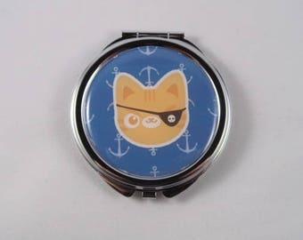 Pirate Cat Compact Mirror