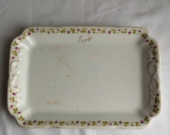 """Vintage Erie Railroad Condiment  Dish.   8 3/4""""L by 5 3/4""""W. Dish mfg'd by Shenango China, New Castle Pa. For L Barth & Sons, NY. No Damage"""