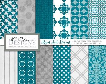 Teal Damask Paper Pack - Teal - 12 digital paper pattern - INSTANT DOWNLOAD
