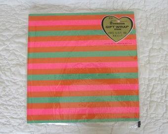 Vintage Gift Wrap Stripe Dennison Paper 1960's 2 Full Sheets in Plastic Wrap