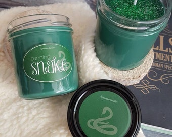 Cunning snake/housepride/soy wax candle/bookish candle