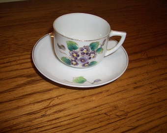 Sweet and Charming Pansy Cup & Saucer...Child Play Set...Occupied Japan