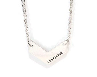 COMPANION metal stamped chevron necklace stainless steel chain