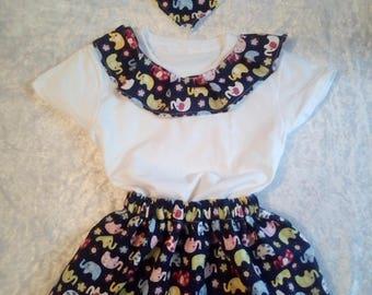 Elephant set, skirt, t-shirt, bib