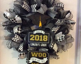 Graduation Wreath,Class of 2018 Wreath,Graduation Deco Mesh Wreath