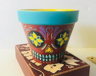 Sugar Skull Flower Pot