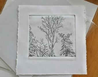 Winter trees intaglio etching