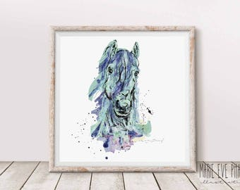 Poster Aqua Horse / Modern / Animal / Blue / Decoration
