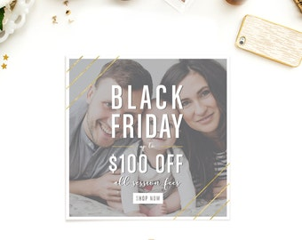 Black Friday Sale Template - Holiday Marketing - Photographer Marketing - Sale Template - Photoshop -  Digital File - Instant Download