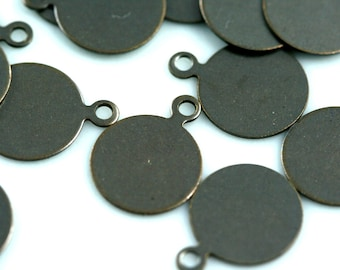 80 Pcs Antique Tone Brass 10 mm Circle tag Charms ,Findings 91AB-26