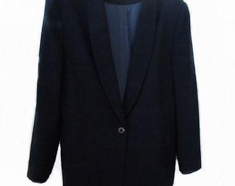 Miss Pendleton Navy Blue Blazer Wool Vintage 1980s Shoulder Pads One Button Closure Womens Size 14