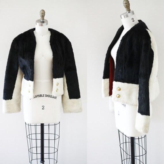 1960s black and white cocktail coat //faux fur coat // vintage coat