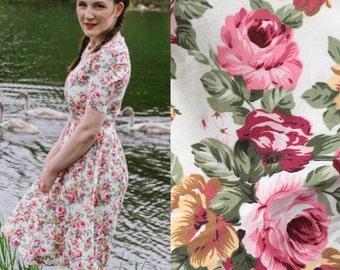 Floral dress, flower dress, vintage style dress, midi dress, cotton dress, garden party dress, bridemaids dress, spring summer dress