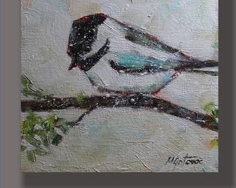 Original Acrylic Painting- It is Freezing Modern, Contemporary 8x8