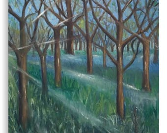 Canvas Print Wall Art Taken From The Original Oil Painting 'Inspiration In The Bluebell Wood' By Sally Anne Wake Jones