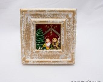 Frame Nativity, Pine cone,  Miniature, Holy family, Bethlehem, Nature Nativity, Desktop christmas