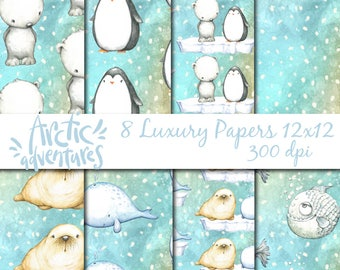 Christmas Digital Papers 8  papers, 12X12, commercial use, scrapbook papers, scrapbooking papers. Instant Download