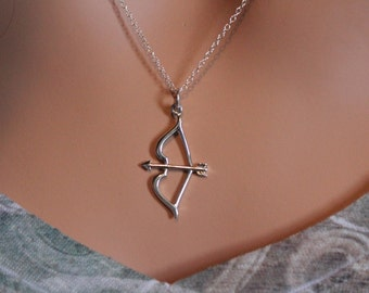 Sterling Silver Bow and Arrow Necklace, Sterling Silver Bow and Arrow Charm Necklace, Bow & Arrow Pendant Necklace, Bow and Arrow, Style #A4