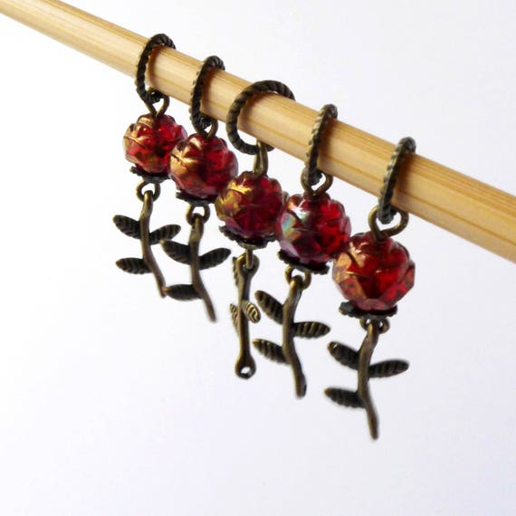 Tango Delle Rose - Five Handmade Stitch Markers - Fits Up To 5.0mm (8 US) - Limited Edition