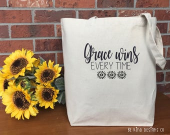 Grace Wins Every Time Canvas Tote Bag, Cotton Canvas Tote Bag, Market Bag, Reusable Grocery Bag, Shopping Bag, Printed Tote, Teacher Gift