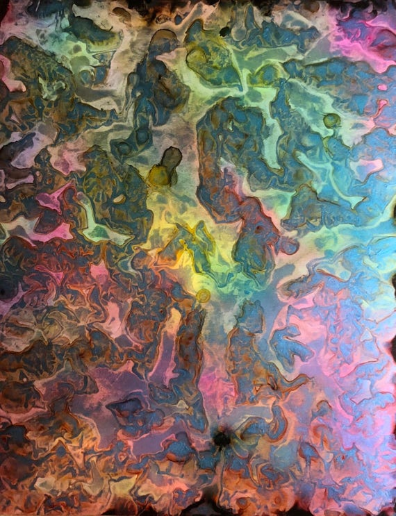 """Original Alcohol Ink Abstract Painting: """"Flexible"""" (11"""" X 14"""")"""