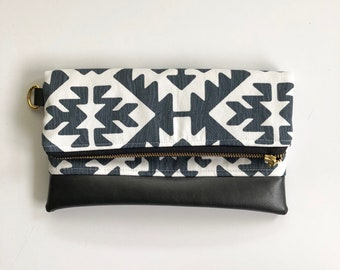 Ready to ship! Charcoal and white aztec print foldover clutch with gray faux leather