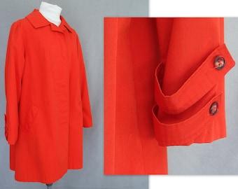 Orange Raincoat, Vintage Sharpee Car Coat, Modern Size 14, Large