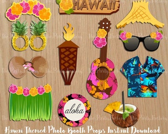 Hawaii summer photo booth props, intant download, Printables