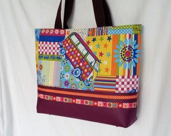 Colorful tote bag, vintage fabric, VW Combi