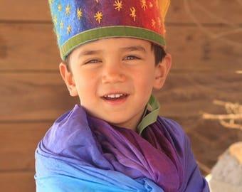 Waldorf Crown - Birthday Crown - Felt Crown - Rainbow Crown - Felted - Kindergarten Crown - Steiner Kindergarten