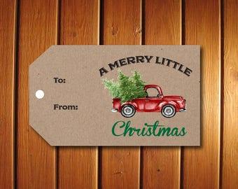 Kraft Christmas Gift Tag | Printable Gift Tag | PDF-DIY Template | Holiday Tag | Red Truck Tag