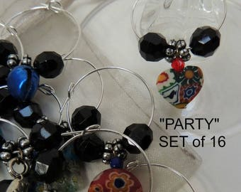 PARTY 16 Wine Charms Drink Markers: Hostess Couples Gift Wedding Party All Year Celebration Eco-friendly Reusable Multi Use EACH DIFFERENT