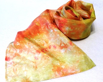 Hand-dyed Silk Scarf, Ice-Dyed Silk Scarf, Gold Silk Scarf, Coral Silk Scarf, Coral, Gold, Coral Scarf, Gold Scarf - #SS-16-11