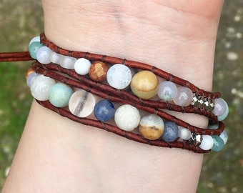 Organic Heart Mixed Stone Double Wrap Bracelet