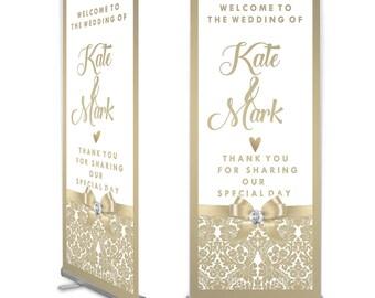 Champagne Satin Wedding Welcome Banner