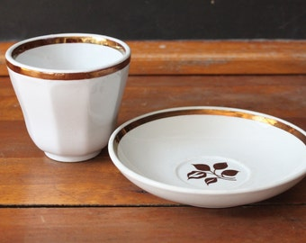 Ironstone Handleless Cup and Saucer - Alfred Meakin - Tea Leaf