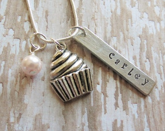 Cupcake Necklace, Cupcake Charm, Personalized, Hand Stamped, Baker, Chef, Cook, Food, Pastry, Birthday Gift, Cupcake Jewelry