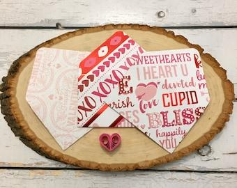 Assorted Valentine's Day-themed gift card envelopes business card envelopes