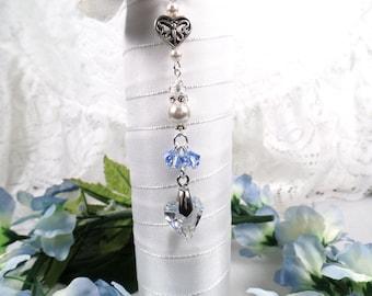 Something Blue Bridal Bouquet Charm Bridal Bouquet Charm Wedding Bouquet Charm Something Blue For Bride Heart Bouquet Charm