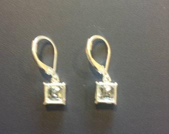 Square CZ Lever Back Earrings