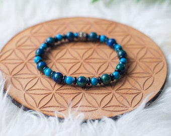 Men's multicolor Azurite beaded bracelet with Turquoise and glass accents