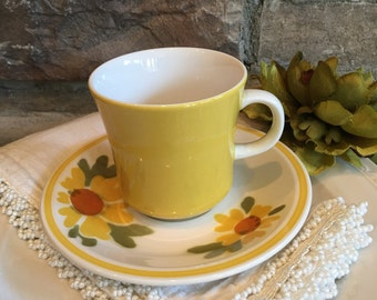 Mikasa Flora D1354 Cup & Saucer Cera-Stone Vintage Yellow Teacup Set - #A2156