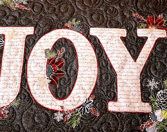 PDF Digital download for Quilt Pattern for LETTERS of JOY Table Runner Holiday Christmas Poinsettia Home Decor Black Red White Pine Berries