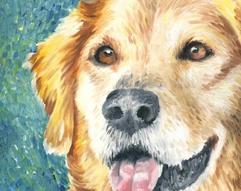Golden Retriever Giclée Art Print of Oil Painting - 8 x 8""